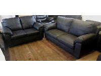 Brand New Logan Leather Large And Regular Sofa - Black. -Can Deliver-