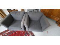 2 black armchairs