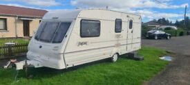 Bailey pageant champagne 2001 4 berth awning 12/240v full shower hot and cold water