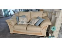 Cream Leather Sofa, two 2 seater