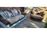 🔥Brown fabric dfs®️ large 2 seater & cuddle chair 🔥