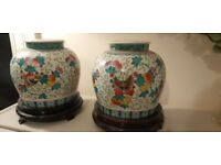 Pair Of Antique Vintage Oriental Vases, Large, Polychrome Ceramic Made in China