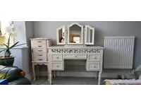 A stunning antique looking white dressing table with mirror
