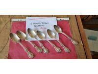 6 silver Tiffany teaspoons tea spoons