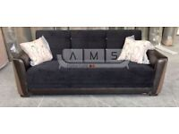 BRAND NEW FABRIC STORAGE SOFA BED, 3 SEATER SLEEPER LEATHER ARM RESTS SOFABED