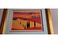 Rural Scene Of Tuscany In Acrylic and Mounted In A Wooden Gilt Frame