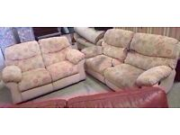 Fabric two seater sofa and three seater electric recliner sofa
