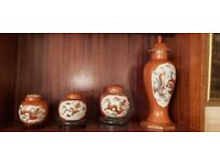 Oriental vintage ginger jars x3 & matching large temple jar