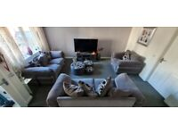 Grey 2 seater and 3 seater sofa plus chair and stools