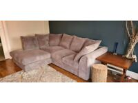 Denver Grey Jumbo Cord Left Hand Corner Sofa