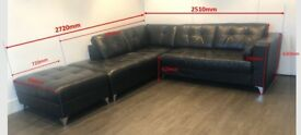 Black Leather Corner Chaise Longue Sofa + matching pouffe (with storage)