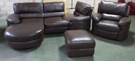 DFS Brown Leather Corner Swivel Sofa & Electric Armchiar.CAN DELIVER