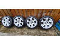 Set of nice Jaguar alloys with matching Michelin pilot sport 4 tyres 245 45 18 .