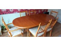 William Lawrence Yew dining table and chairs