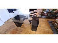 Glass World Map Desk with Black Filing Cabinet/Shelf Units