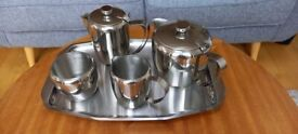 Tea Set - 5 piece with Tray, Stainless Steel, 1970's Fiesta