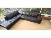 L shape brown leather reclining sofa