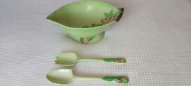 Vintage Carlton Ware Australian Design Leaf Bowl With Spoons