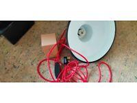 Red industrial enamel light shade