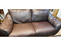 BROWN 2 SEATER AND 3 SEATER SOFA FOR SALE - GOOD CONDITION - NW4