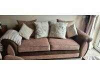 3 seater sofa with matching cuddle swivel chair and puff