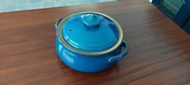 Denby blue Oven to Table casserole dish.