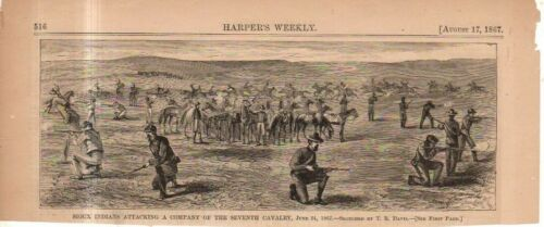 1867 Harpers Weekly August 17 original print - Sioux indians attack 7th Cavalry