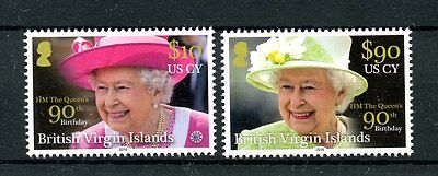 British Virgin Isl 2016 MNH Queen Elizabeth II 90th Bday 2v HIGH VALUE Stamps