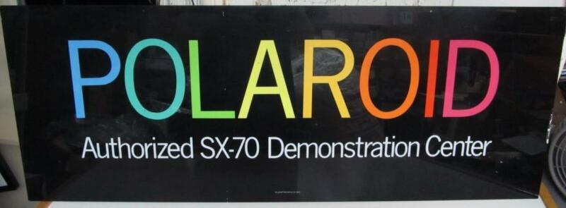 Authentic Original Polaroid Black Acrylic Sign SX-70 Demonstration Center 48x18