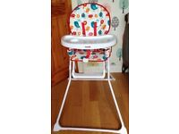 Mamia Highchair, unisex design with tray & safety harness, folds flat to store