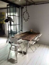 Table on request from old wood retro loft design