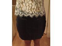 Mango Mini Leather Skirt Size 8