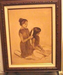 Vintage Signed Oil on Canvas Painting Native portraits