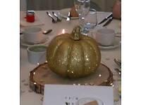 Wedding items. 10 x sparkly gold pumpkins.