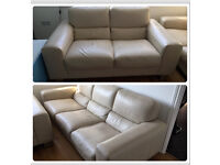 3 + 2 Real Cream Leather Sofas - £4000 from Maskreys