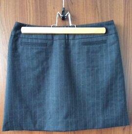 Short Grey Pinstripe Skirt - Size 10 - KAREN MILLEN