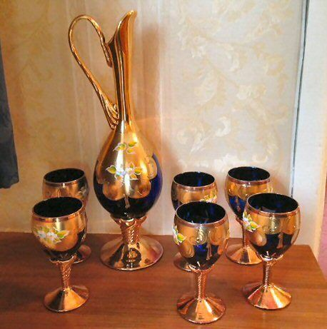 Elegant Vintage Retro Murano Gl 24k Gold Set Of 6 Wine Gles Carafe