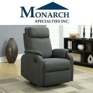 NEW MS SWIVEL ROCKER RECLINER - 119950635 - MONARCH SPECIALTIES CHARCOAL GREY