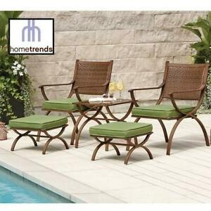 NEW* 5PC HOMETRENDS CHAT SET LG6402-D5PC 257577730 BARCELONA 2 CHAIRS 1 SIDE TABLE 2 OTTOMANS 4 CUSHIONS