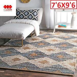 NEW NULOOM HAND BRAIDED AREA RUG ASDR02A 188467844 Otelia Denim  Jute Rug