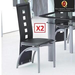 2 OB UPHOLSTERED DINING CHAIRS D250 190094166 Best Quality Furniture Modern Faux Leather Metal SET OF 2 OPEN BOX