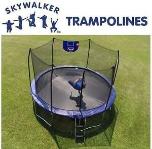 NEW SKYWALKER 12' TRAMPOLINE - 114042306 - ROUND SAFETY ENCLOSURE W/ BASKETBALL HOOP TRAMPOLINES JUMPING JUMPS HOOPS