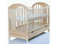 Baby Cot Bed 120cmx60cm with XXL Drawer Wooden for sale AS NEW