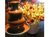 Chocolate fountain hire for Valentines! Flower bouquets
