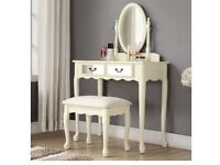 Vintage look dressing table and stool