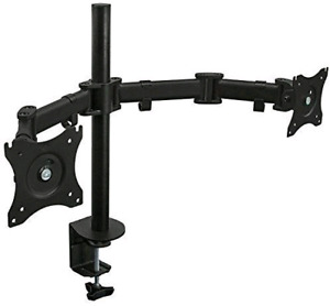 Dual monitor arm VESA desk mount with clamp. Heavy duty metal.