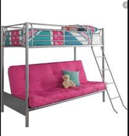 Metal High Sleeper Loft Bed With Pink Futon Sofa Converts To Double Bed In Ripon North