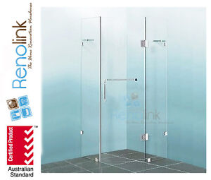 FRAMELESS SHOWER SCREEN - DIAMOND SHAPE 1000mm x 1000mm TOUGHEN GLASS CORNER 765