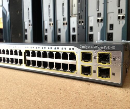 Cisco 3750 Ws-c3750-48ps-e 48 Ethernet 10/100 Ports Ethernet Poe Catalyst Switch
