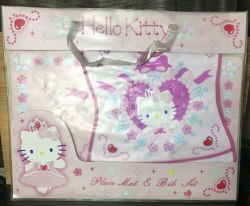 Vintage Sanrio Hello Kitty Place Mat & Bib Cat Kitten Princess New Rare